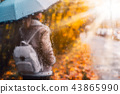 Silhouette of girl wear aviator jacket with umbrella standing behind the window covered with rain 43865990