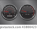 Speedometer and tachometer on metal perforated background. 50 km per hour 43866423