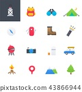 Camping Colourful Icons Set, Vector Illustration 43866944