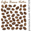Set of roasted coffee beans elements vector  43867320