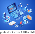 Business network database isometric illustrations. 43867760