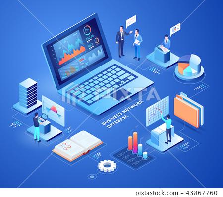 Business network database isometric illustrations. 43867760
