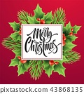 Merry Christmas greeting card vector template 43868135