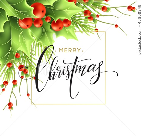 Merry Christmas greeting card design 43868549