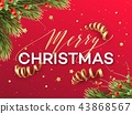 Merry Christmas greeting card vector template 43868567