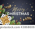 Merry Christmas greeting card vector template 43868606
