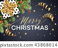 Merry Christmas greeting card vector template 43868614