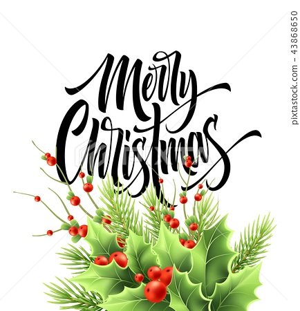 Merry Christmas greeting card vector template 43868650