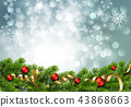 Christmas green Pine Branches and red baubles 43868663