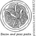 illustration of pasta in cartoon style. 43868872
