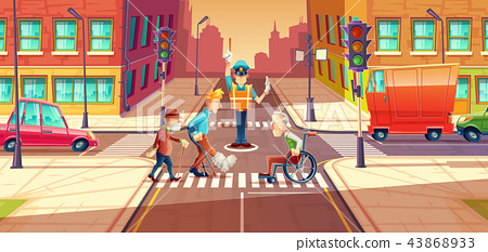 illustration of crossing guard adjusting transport moving, city crossroads with pedestrians 43868933
