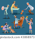 Vets with cute pets cartoon illustration 43868973