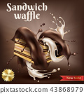 Waffle with chocolate and creamy filling 43868979