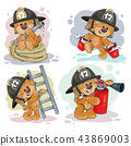 Teddy bear firefighter with rescue equipment. 43869003