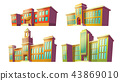 Set of cartoon illustrations of various color old, retro educational institutions, schools. 43869010