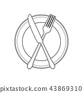 Empty plate and knife line Vector Illustration.. 43869310