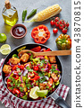 Mexican dish: corn and black bean salad, top view 43870815
