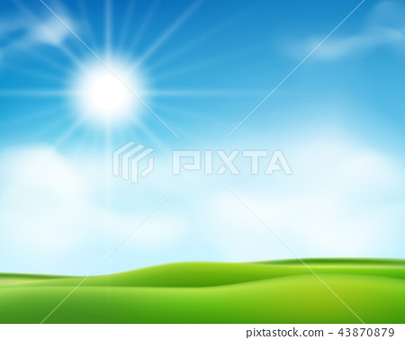 Summer or spring sunny morning background with blue sky and shiny sun. Sunny day poster design 43870879
