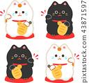 แมวกวักมือที่ยกมือขวาขึ้นและแมวกวักมือที่ยกมือซ้าย 43871597