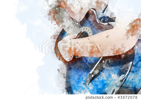 Guitar in the foreground on Watercolor painting. 43872078