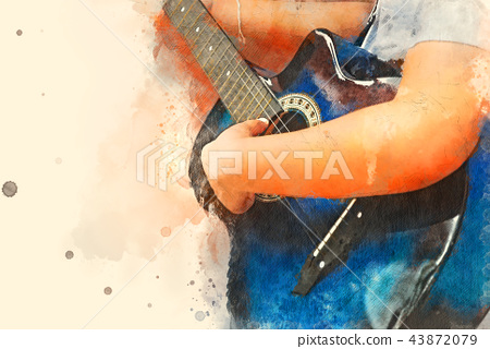 Guitar in the foreground on Watercolor painting. 43872079