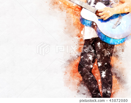 Guitar in the foreground on Watercolor painting. 43872080