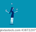 Businesswoman juggling with planet earth globes 43872207