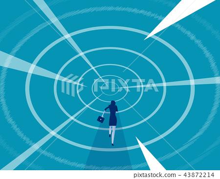 Businesswoman run faster into the future. 43872214