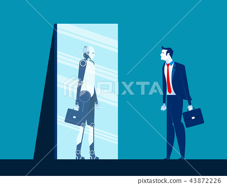 Businessman standing and looking body in mirror 43872226
