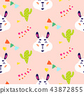 Happy llama smiling kid vector seamless repeat pattern with cacti. 43872855