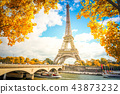 eiffel tour over Seine river 43873232