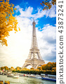 eiffel tour over Seine river 43873241