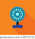 blue electric fan on orange background. 43873535