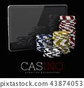 Casino Chips with Tablet, online casino concept, 3d Illustration of Casino Games Elements 43874053