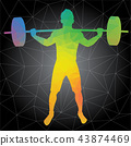 Vector silhouettes of man doing crossfit workouts 43874469