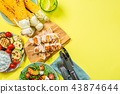 Summer bbq party concept - grilled chicken, vegetables, corn, salad, top view 43874644