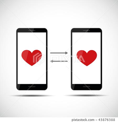online dating app concept hearts 43876388