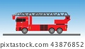 Fire Truck on blue sky background 43876852