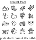 Harvest icon set in thin line style 43877466