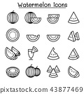 Watermelon icon set in thin line style 43877469