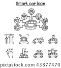 Smart car icons set in thin line style 43877470