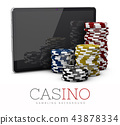 Casino Chips with Tablet, online casino concept, 3d Illustration isolated white 43878334