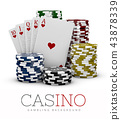 Casino Chips and Poker Card, Casino concept, 3d Illustration of Casino Games Elements isolated white 43878339