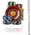 Roulette with Chips, Casino concept, 3d Illustration of Casino Games Elements isolated white 43878343
