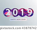 2019 Creative happy new year card in paper style. 43878742