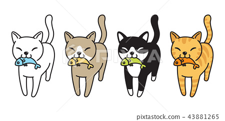 cat vector icon kitten logo calico fish salmon  43881265