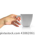 Realistic 3D model of cup white color. Vector IMan's naturalistic hand holds a Realistic 3D model of 43882061