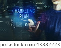 Marketing plan with young man 43882223
