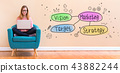 Marketing concept with woman using a laptop 43882244