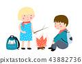 Kids camping fire 43882736